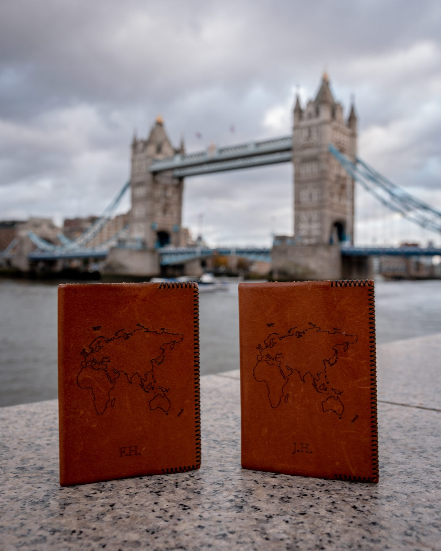 towerbridge London and two passports in the front