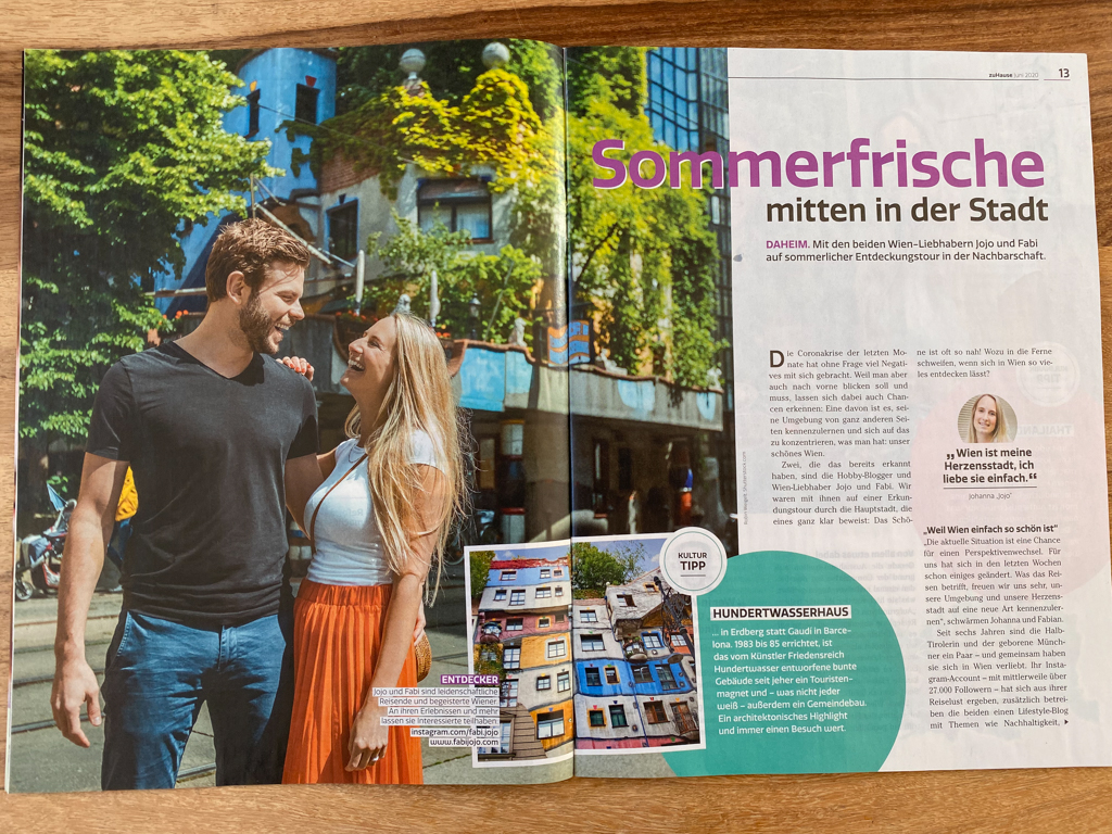 Two sides of a Magazin with an article of a couple. They give their best tips about what to do in Sumer in Vienna