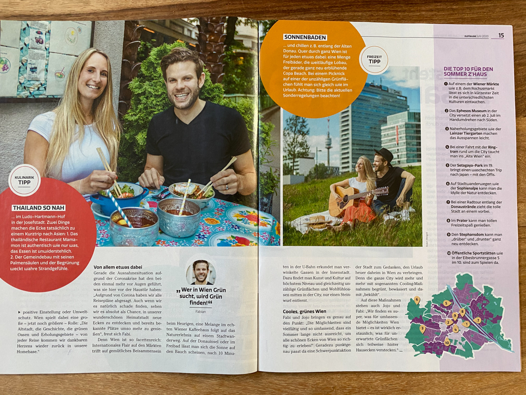 Two sides of a Magazin with an article of a couple. They give their best tips about what to do in Sumer in Vienna and where to find the best restaurants